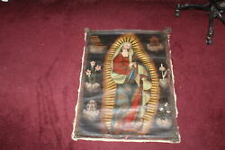 Antique Oil Painting Virgin Of Guadalupe Mother Mary Peru Religious Christianity