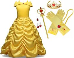 Beauty And Beast Kidand039s Yellow Princess Belle Costume Halloween Party Girl Dress