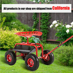 Red Rolling Garden Cart Work Seat W/ Tool Tray 360anddeg Swivel Seat For Planting