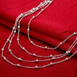 wholesale 925 Silver wedding Necklace Jewelry charms women lady beads chain $1.85