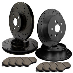 [front And Rear] 4 Double Drilled And Slotted Brake Rotors +8 Ceramic Pads Atl023580