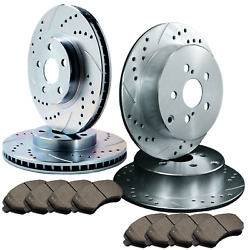 [front And Rear] 4 Double Drilled And Slotted Brake Rotors +8 Ceramic Pads Atl023570