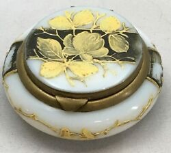 Antique Victorian Hand Painted Milk Glass Patch Box Black And Gold Floral And Hearts
