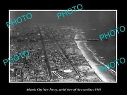 Old Large Historic Photo Of Atlantic City New Jersey Aerial Of Coastline 1940 3