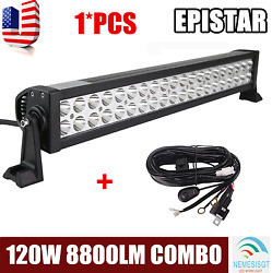 22inch 120w Combo Led Light Bar Off-road Driving Lamp Suv Boat 4wd +wiring Kit