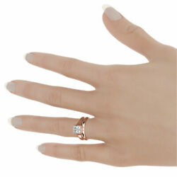 BAND SET DIAMOND RING 18K ROSE GOLD RED AUTHENTIC LADY 1.58 CARATS SIZE 7 8 9