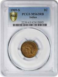 1909-s Indian Cent, Ms63rb, Pcgs