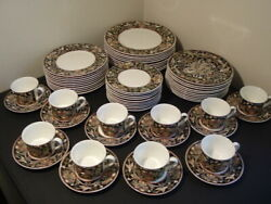 EXC 60 PC SET OF VILLEROY & BOCH INTARSIA GALLO DESIGN WITH ACCENT SALAD PLATES