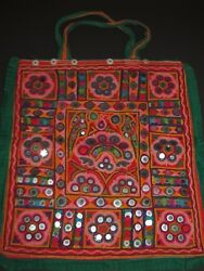 Vintage Traditional Kutch Patchwork with mirror work old textile Bag from INDIA