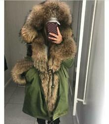 Womenand039s Real Natural Raccoon Fur Parka Coat Hooded Liner Hoodie Overcoat Oversz