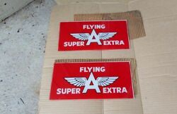 Vintage Pair Of Flying A Gas Oil Reverse On Glass Pump Signs Nice