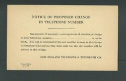 1928 New England Telephone And Telegraph Notice Of Proposed Telephone No Change