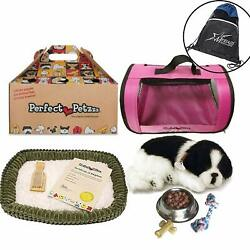 Perfect Petzzz Border Collie With Pink Tote For Plush Breathing Pet