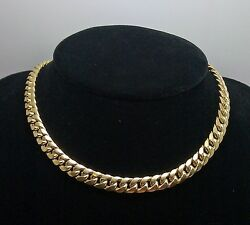 10k Gold Chain Ladies Miami Cuban Necklace 6mm 18 Inch Box Clasp Strong Link