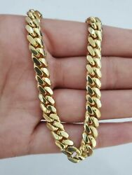 10k Solid Gold Cuban Link Necklace 7 Mm Box Clasp Men's 20 22 24 26 28 30 Inch