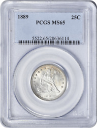 1889 Liberty Seated Silver Quarter Ms65 Pcgs