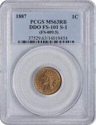 1887 Indian Cent Ddo Fs-101 S-1 Ms63rb Pcgs
