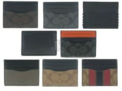 Coach Mens Leather PVC Card Holder Case Id Money Clip Wallet With Gift Box
