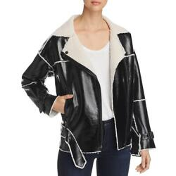 Kenneth Cole Women's Faux Leather Shearling Lined Belted Moto Jacket