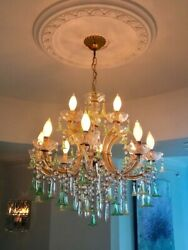 Murano Glass Chandelier, 10 arms, translucent green & yellow flowers and pearls