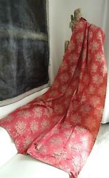 2 French Antique Curtains Old Pink Silk Satin Roses And Ribbons