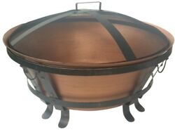 Patio Fire Pit Round Fire Bowl Metal Outdoor Fireplace 34 Diam Copper Finish