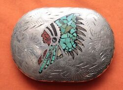 Vtg Hand Made Turquoise Abalone Coral Indian Chief Inlay Western Belt Buckle