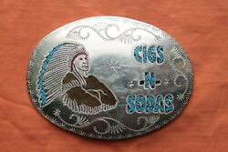 Vtg Hand Made Indian Chief Turquoise Coral Inlay Cigs-n-soda Western Belt Buckle