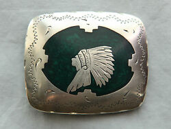 Vtg Hand Made Engraved Indian Chief Mother Of Pearl Inlay Western Belt Buckle
