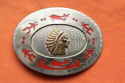 Vintage Hand Made Indian Chief Inlay Western Belt Buckle