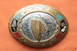 Vtg J. Tedder Indian Chief Turquoise Coral Abalone Inlay Western Belt Buckle