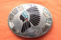 Vtg Johnson Held Handmade Indian Chief Turquoise Coral Abalone Inlay Belt Buckle
