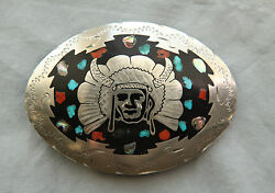Vtg Hand Made Indian Chief Turquoise Coral Abalone Inlay Western Belt Buckle
