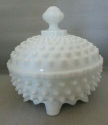 Fenton Hobnail 3 Toed 6 Candy Dish With Lid Milk Glass