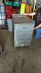 Vintage Wood Industrial Parts / Tool Factory Cart Three Drawer Iron Casters