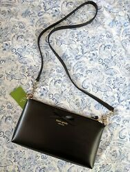 New With Tags Kate Spade Leather Black with Bow Crossbody Gold Chain Bag $69.99