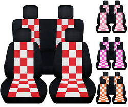 Front+ Rear Checkers Car Seat Covers Fits 98-2018 Vw Beetle Blk-red/orange/pink.