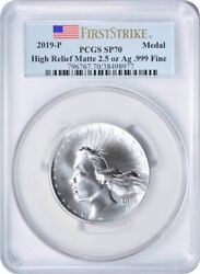 2019-p American Liberty High Relief Silver Matte Medal Sp70 First Strike Pcgs