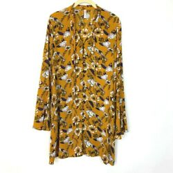 Xhilaration Size Small Floral Bell Sleeve Shift Dress Yellow Button Down Pockets