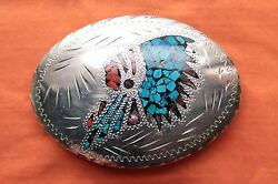 Vtg Turquoise Coral Abalone Inlay Indian Chief Hand Made Western Belt Buckle