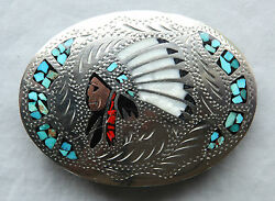 Vtg Turquoise Coral Mother Of Pearl Inlay Indian Chief Western Belt Buckle