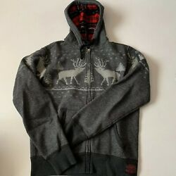 Polo Reindeer Zip Up Plaid Hoodie Size Small