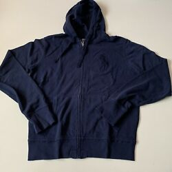 Polo Light Zip Up Big Pony Hoodie Navy Size Small
