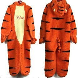 THE DISNEY STORE Kids 4-6T Heavy Plush Talking TIGGER 1 Piece Halloween Costume