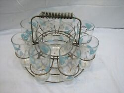 Set Mid Century Modern Atomic Water Drinking Glasses Ice Bucket And Wire Caddy