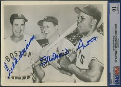 Ted Williams, Willie Mays And Stan Musial Vintage 8x10 Photo - Psa Graded 10 Psa