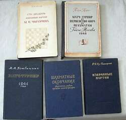 5 Old Chess Books In Russian, 1940- 1960s, Fair Condition