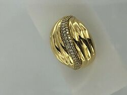 David Yurman Diamond Sculpted Cable Dome Ring 18kt Yellow Gold Size 5.75 Approx
