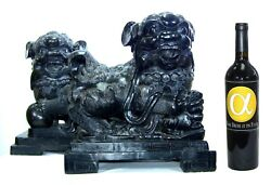 Chinese Antique Carved Black Marble Stone Lions / Foo Dogs Pair