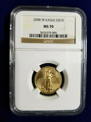2008-W West Point UNCIRCULATED Burnished $10 1/4 Oz Gold Eagle NGC MS70 KEY DATE